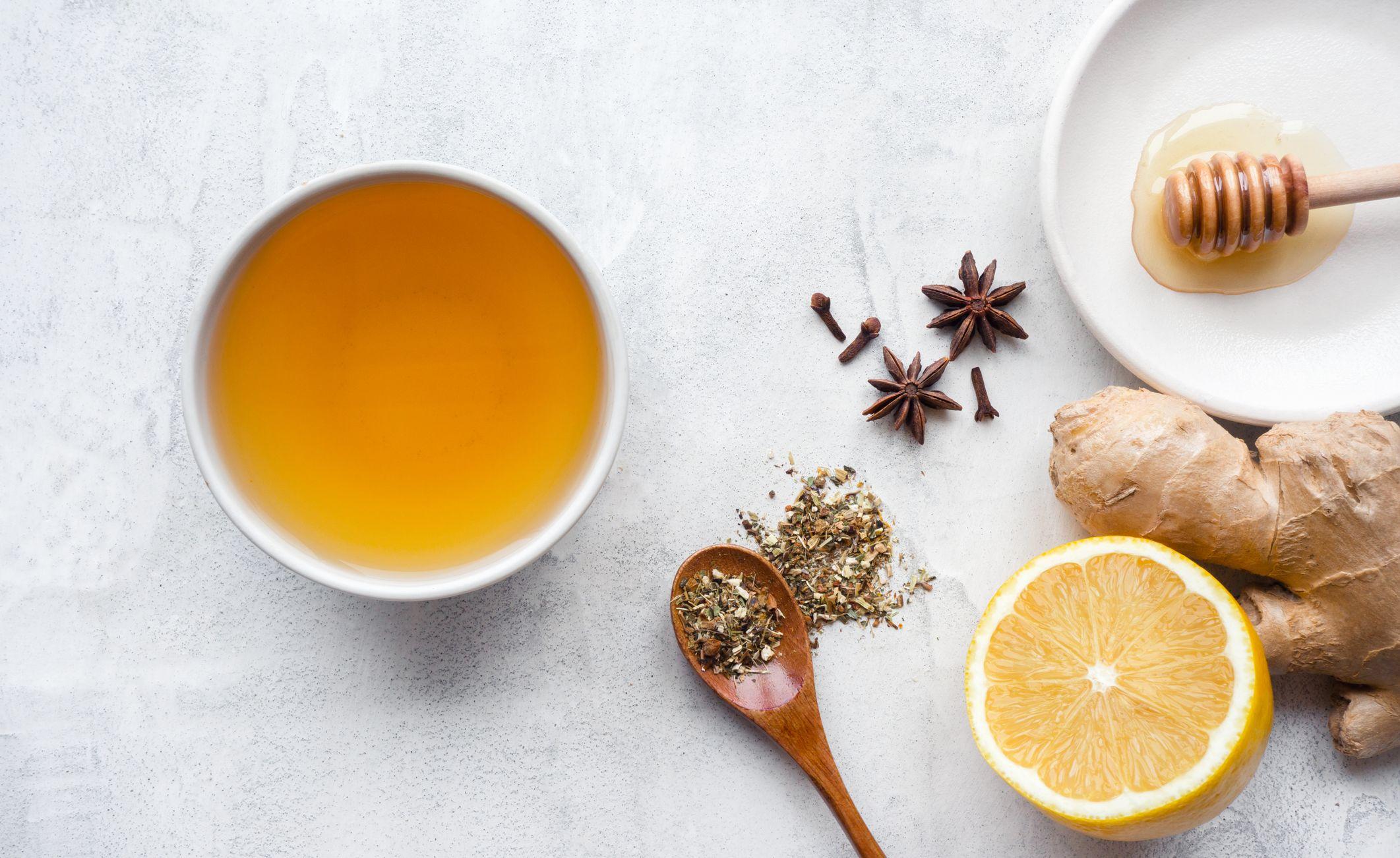 Hot herbal ginger tea.