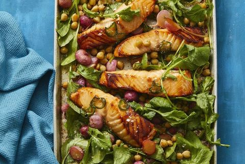 hot honey roasted salmon and radishes