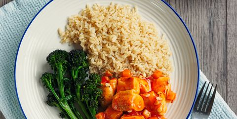hot sour chicken with brown rice