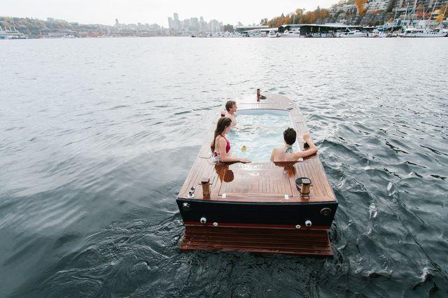 hot tub boat on a lake