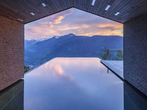 Sky, Blue, Property, Architecture, Lighting, Wall, Room, House, Ceiling, Swimming pool,