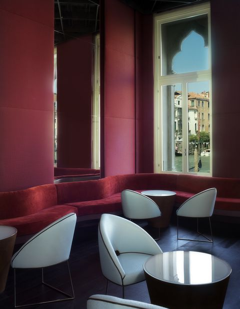 Interior design, Room, Furniture, Red, Table, Architecture, Chair, Wall, Building, Design,