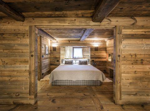 Room, Log cabin, Property, Wood, Building, Attic, Beam, Interior design, Bedroom, House,