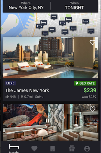 HotelTonight hotel booking app
