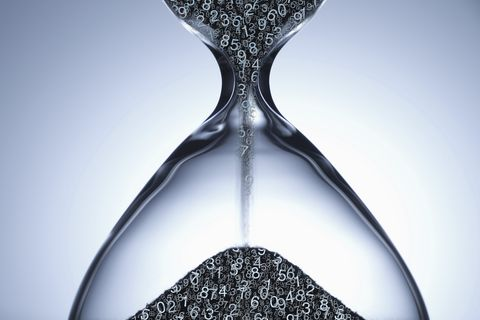 Numbers flowing in hourglass