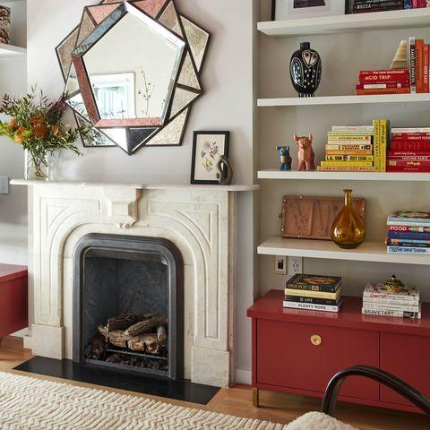 Shelf, Shelving, Furniture, Room, Living room, Bookcase, Interior design, Wall, Fireplace, Home,