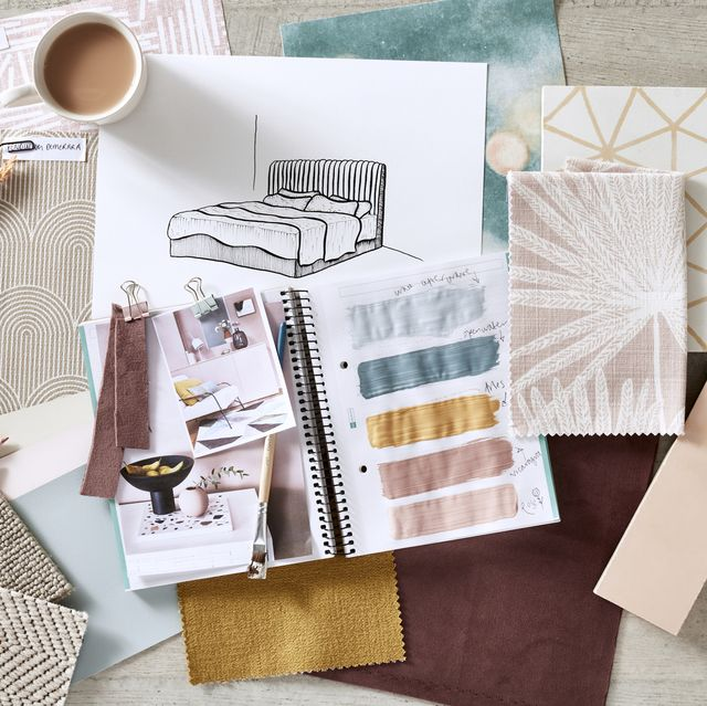 bedroom moodboard featuring house beautiful maisy bed from dreams