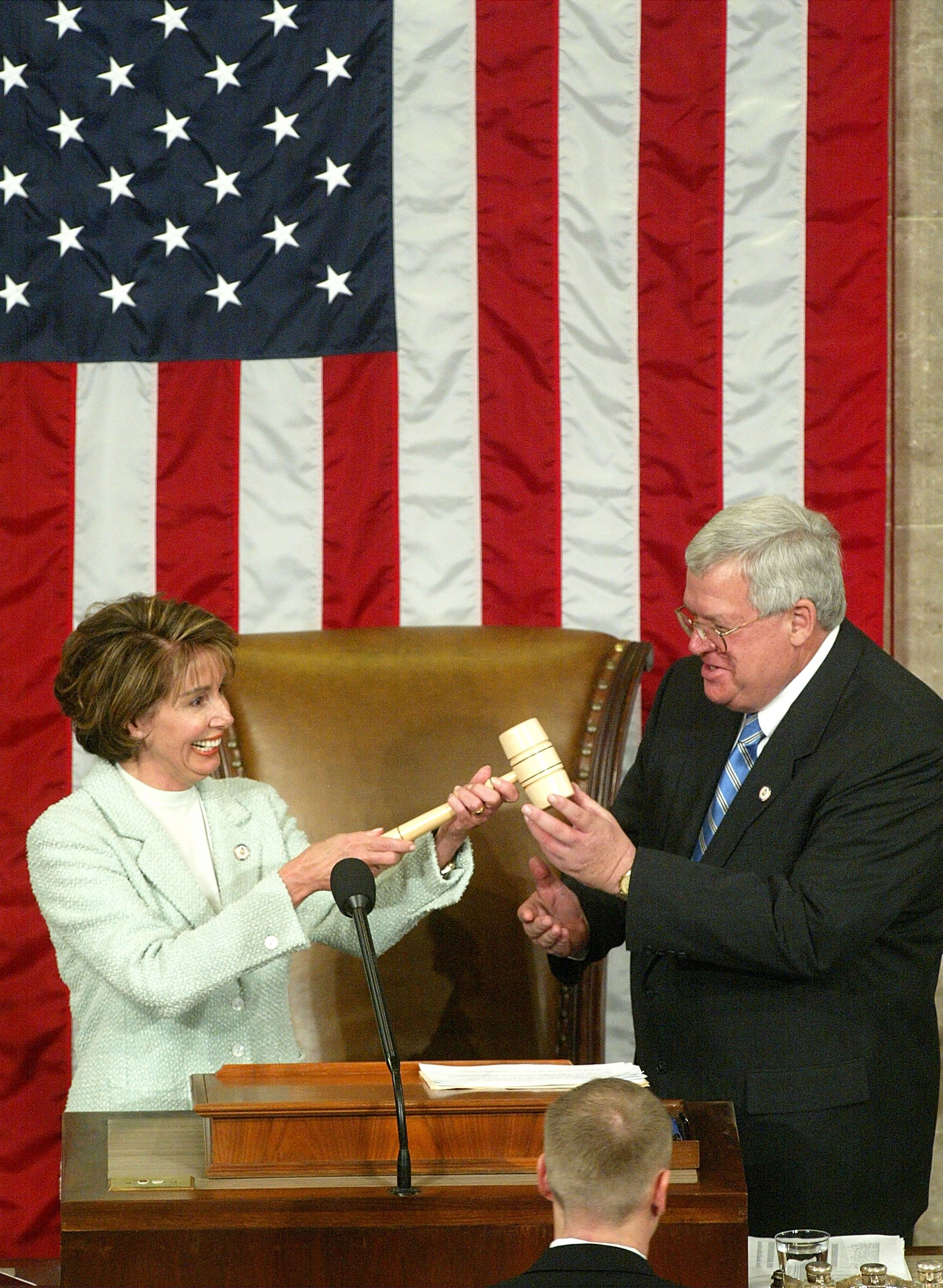 Pelosi is sworn in as House Minority Leader during the opening day of the 108th Congress.