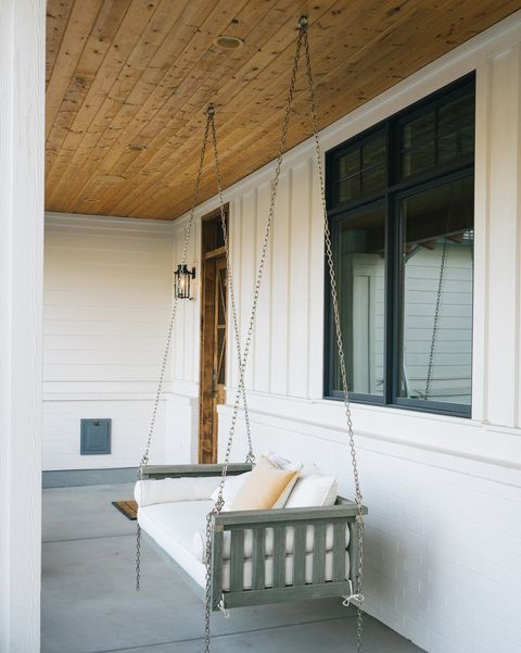 swing bench on front porch