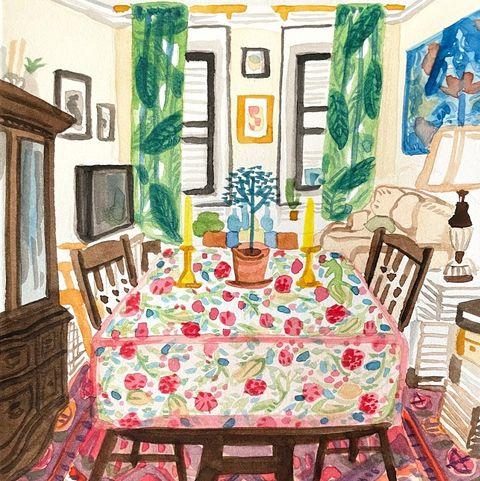 watercolor of room