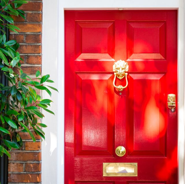 color image depicting the exterior of a building on a traditional city street in belgravia, an affluent area of london, uk the house has a pretty red door, red brick walls, and the facade is decorated with a lush, verdant green bush room for copy space