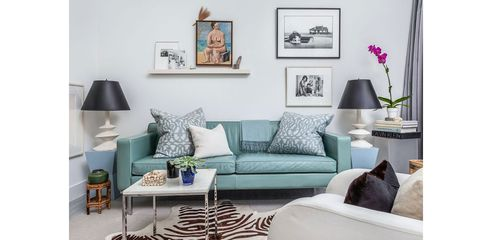 Living room, Furniture, Room, Blue, Couch, Interior design, Turquoise, Table, Teal, studio couch,