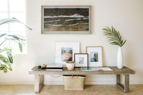 Furniture, Coffee table, Room, Table, Shelf, Wall, Interior design, Living room, Floor, Branch,