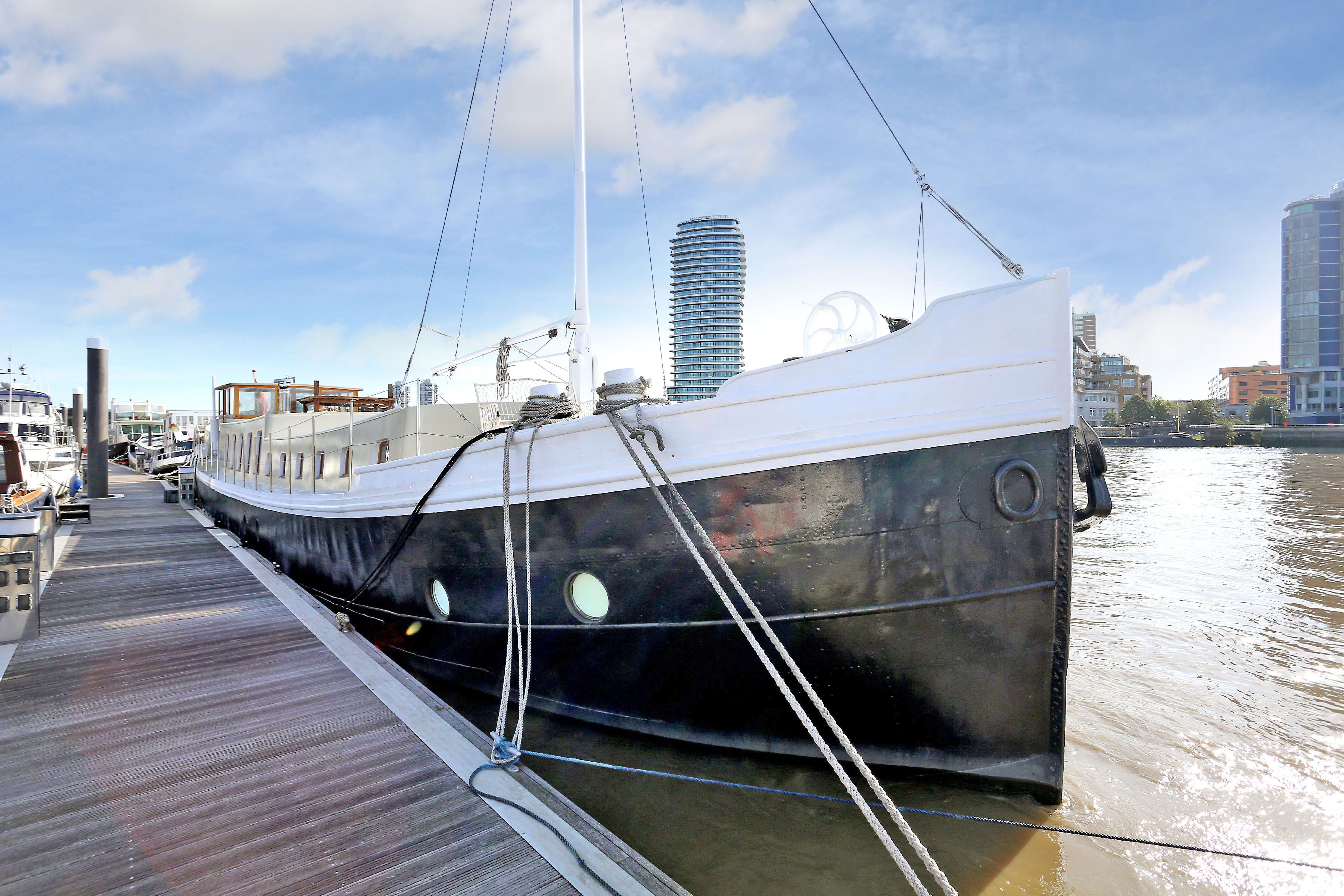 Peek inside this three-bedroom houseboat in Imperial Wharf on sale for £1 million