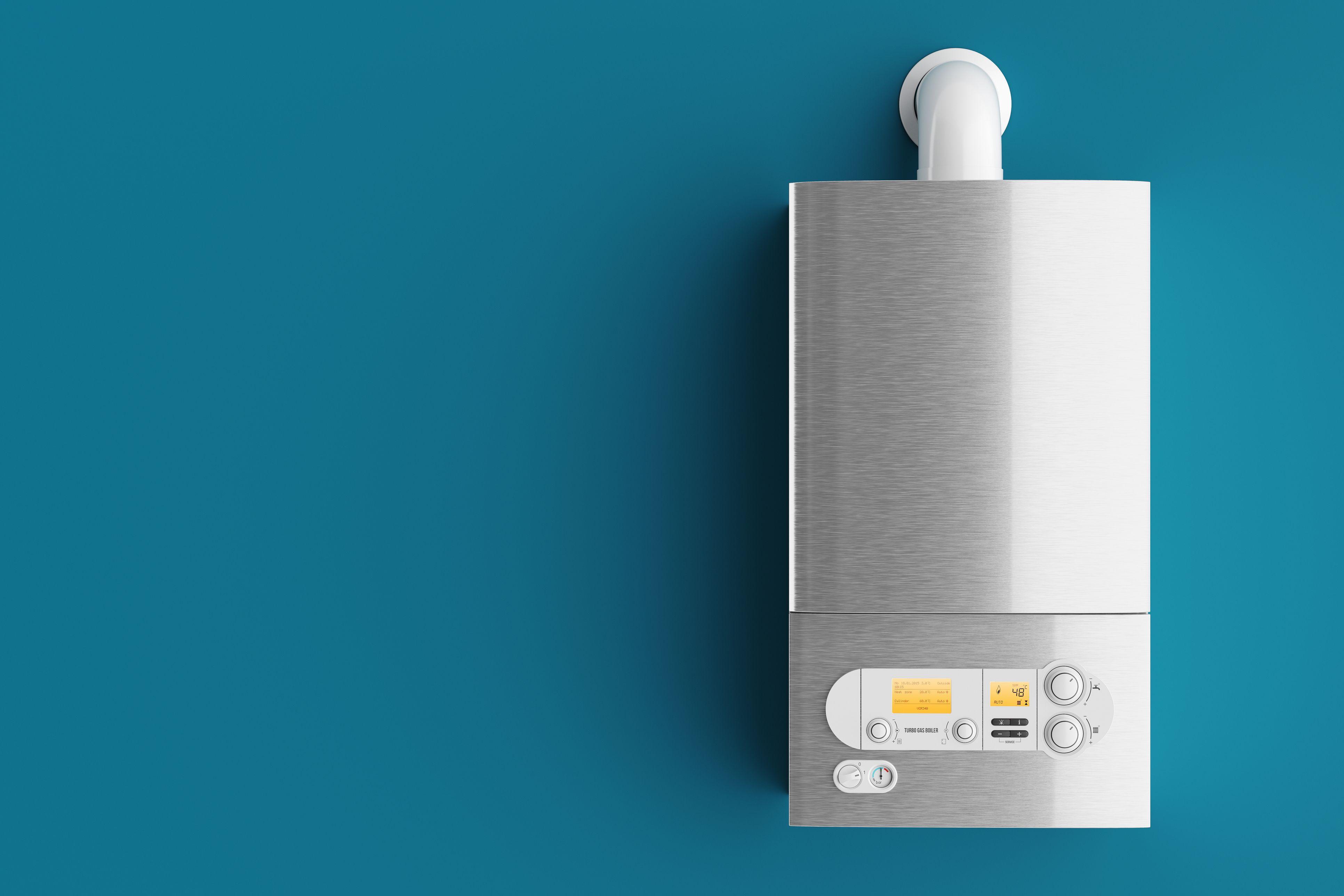 Household gas boiler on blue background 3d