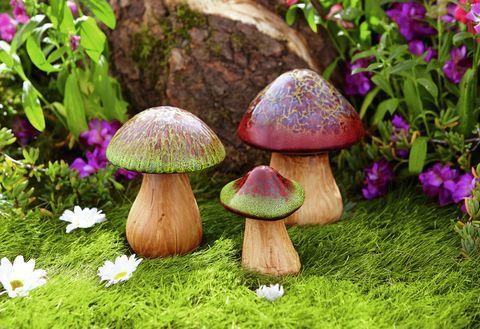 Porcelain garden toadstools
