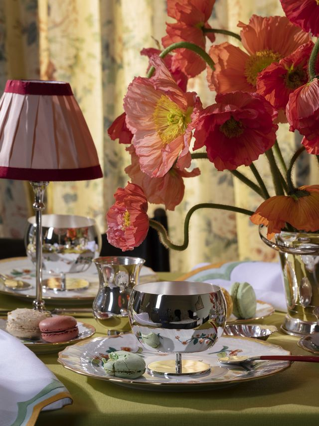dining table, red peonies