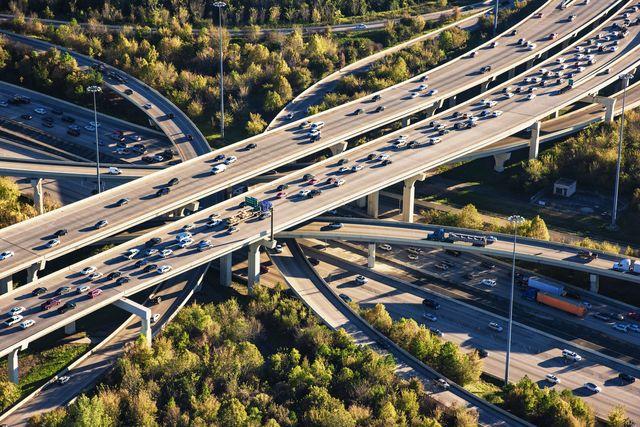 houston freeway interchange aerial