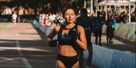 Alexi Pappas crossing the line at the Houston Marathon on Sunday, January 19, 2020 where she PR'd.