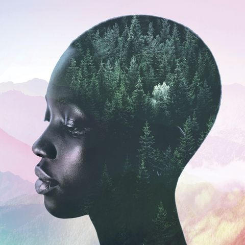 black woman overlapped with mountain landscape