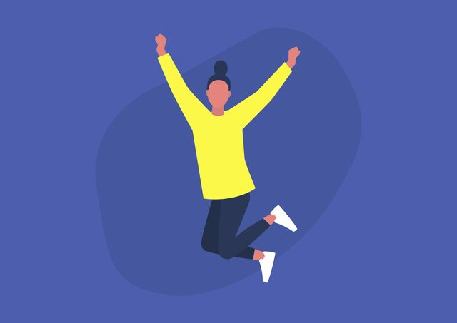 young excited female character jumping and expressing positive emotions, having fun, good vibe