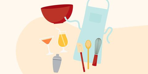 graphic showing drinks and baking tools