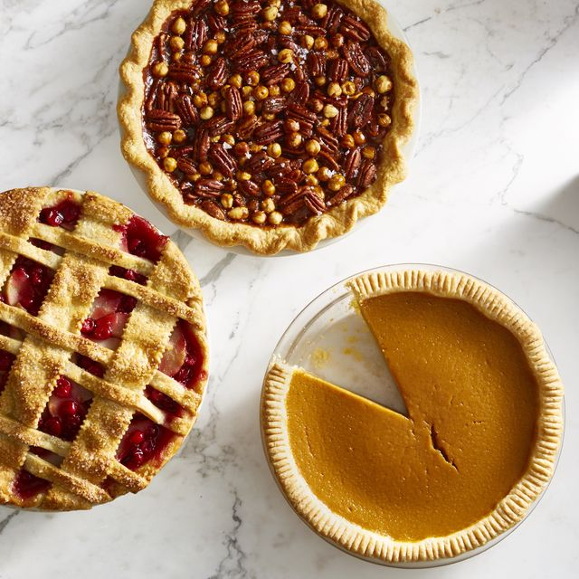 assorted pies with crimped pie crust