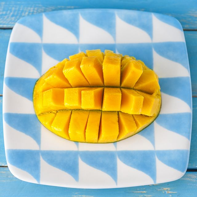 cut mango on a plate