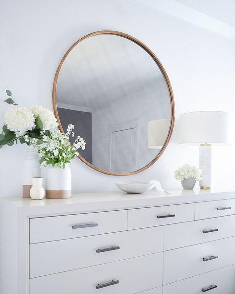 Chest of drawers, White, Mirror, Furniture, Drawer, Dresser, Room, Architecture, Floor, Interior design,