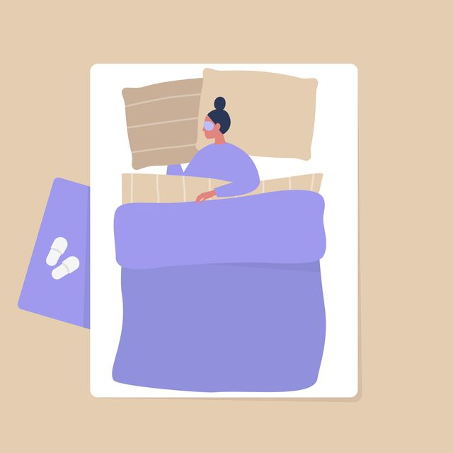 top view of a female character sleeping in a bedroom, modern interior and lifestyle
