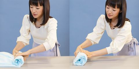 how to fold a fitted sheet - Marie Kondo