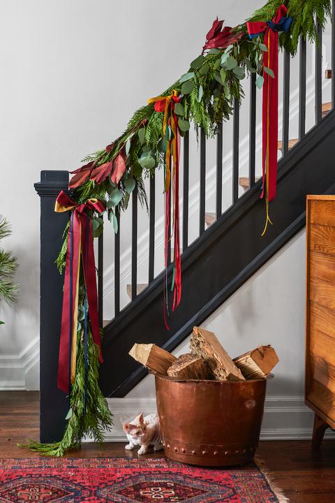 ribbon garland banister