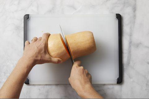 how to prepare butternut squash - cut squash in half
