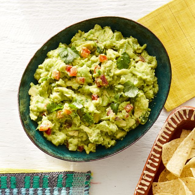 fiesta party classic guacamole with chips and pineapple salsa