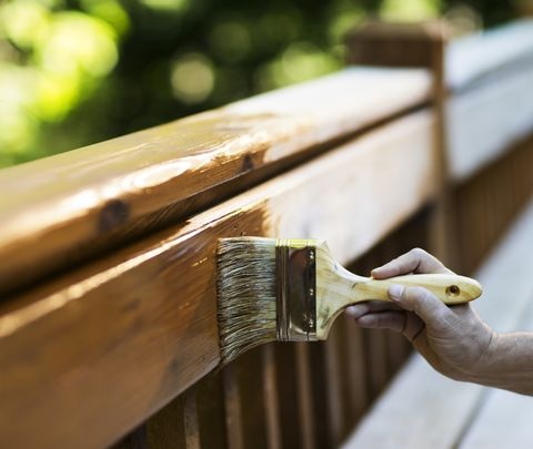 Carpenter Applying Varnish To Wooden Deck.