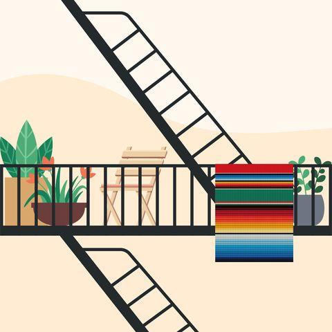 illustration of fire escape with decor