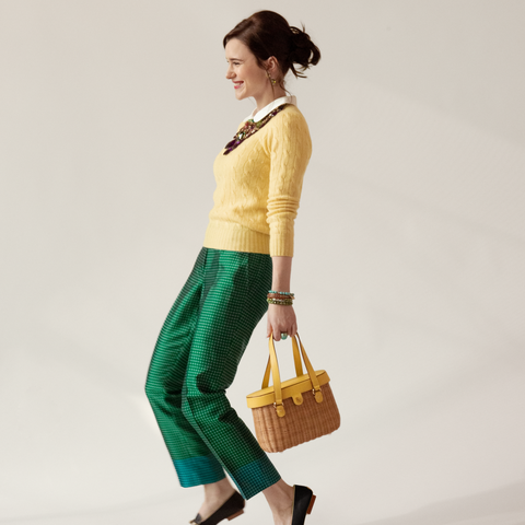 Clothing, Green, Turquoise, Yellow, Waist, Beige, Neck, Shoulder, Fashion, Trousers,