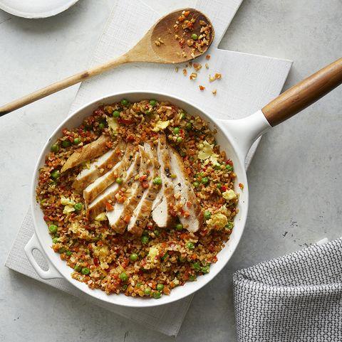 Chicken with Fried Cauliflower Rice in Skillet