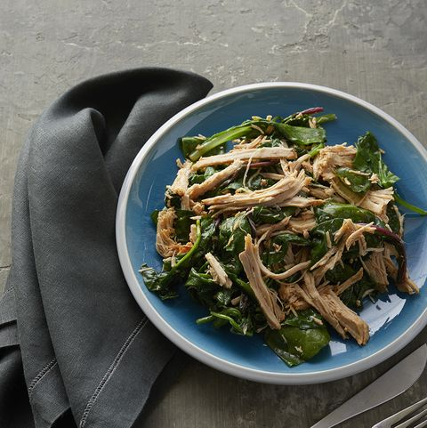 Crock Pot Pork Roast Over Sauteed Mixed Greens