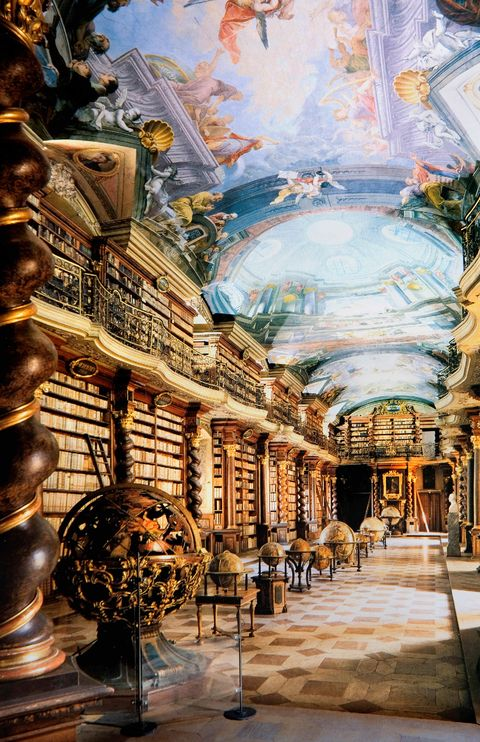 Klementinum. Baroque Library Hall.Prague. Czech Republic