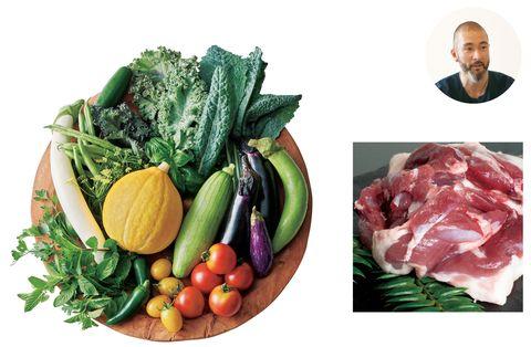 原川慎一郎シェフ「ファームべジコ」の旬の野菜とハーブのセットと「西崎ファーム」のかすみ鴨 胸肉・もも肉のセット