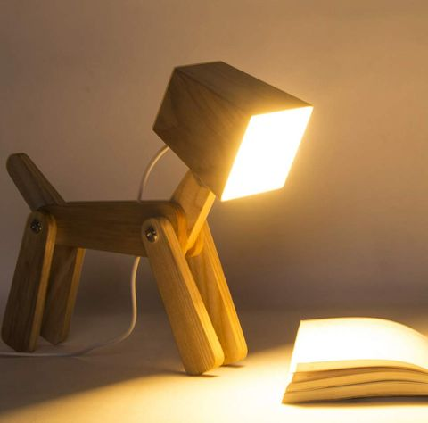 HROOME Cute Wooden Dog Design Adjustable Dimmable Bedside Table Lamp