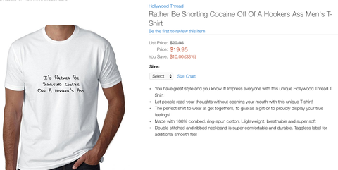 Some Bad News That Id Rather Be Snorting Cocaine Off A Hookers Ass Slogan T Shirt You Wanted For Your Birthday Is No Longer Available At Walmart