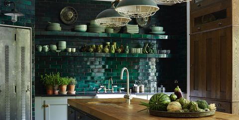 Countertop, Green, Tile, Kitchen, Room, Cabinetry, Interior design, Ceiling, Furniture, Property,