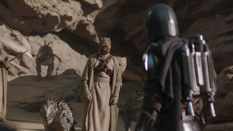 "the mandalorian meets with tusken raiders in the mandalorian ""chapter 9 the marshal"""