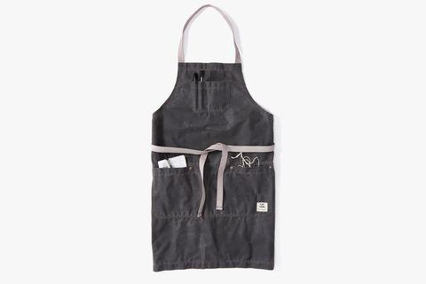 flint and tiner x brad leone waxes canvas apron gray grey