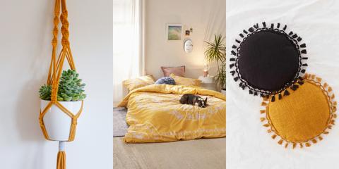 Yellow, Furniture, Room, Interior design, Bedroom, Bed, Table, Tree, Textile, Floor,