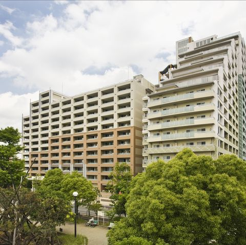 Huge apartment complexes near train station