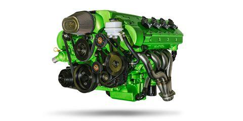 Green, Engine, Auto part, Vehicle, Automotive engine part, Car,