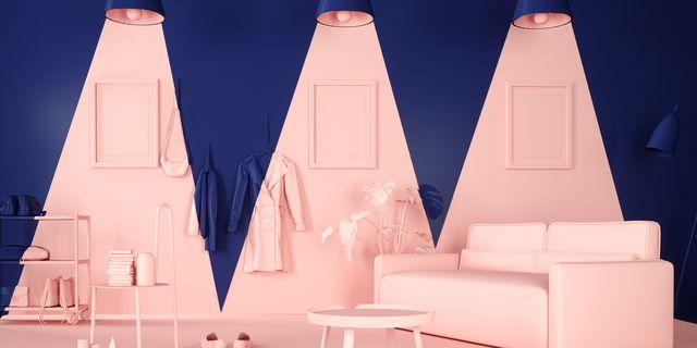 blauwe ruimte met roze highlights